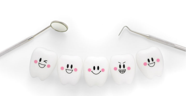cartoon teethe with smiles on them and dental tools